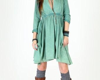 Long Sleeve Grecian Goddess Pocket Dress - Green