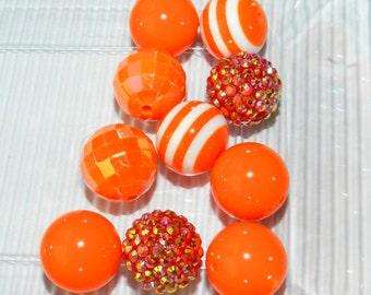 10 Orange Bubblegum Beads Round 20mm Chunky Beads For Jewelry Making DIY Beads Craft Supplies Orange 20mm Bulk Beads