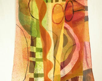 Hand Painted Silk Chiffon Scarf with lively colors and shapes