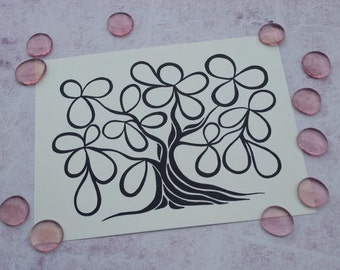 """PRINT Wedding / Engagement / Baby Shower Guest Book Alternative Tree of Life / 28 Signatures / Size 9""""X12"""""""