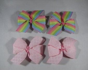 Pastel Ombre Hair Clip Set, Pink Quatrefoil Barrette, Girl Birthday Gift, Spring Hair Bows, Baby Shower Gift, Rainbow Pinwheel Hair Bow Set