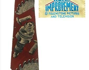 Vintage Tool Time Tie, Necktie, HOME IMPROVEMENT, Tim The Tool Man, Tim's Giant Spark plug, Auto, Car Tie, Saw Blade, Tools, Mechanic, Gift