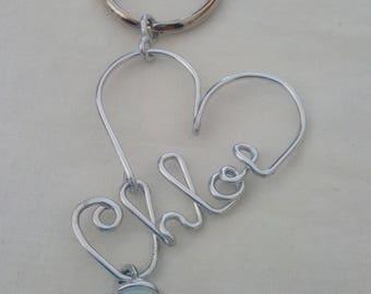 Name Keychain gemstone Wire jewelry  - Moonstone Handmade Keyring - Custom Keychain - Aluminum Keychain - Personalized Gift