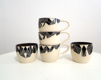 Black and white geometric espresso cups, latte cups, mugs, tea cups, ceramic mugs