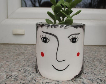 Face Planter,Ceramic Plant Pot,Black Hair,Succulent Planter,Flower Pot,Pottery Planter,Cacti Planter,Pottery Plant Pot,Cactus Pot,Face pot