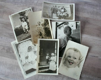 Antique Family Photographs, Lot of 7 Black & White Vintage Photos, Children Photographs, Family Photos, Baby Photographs, Vintage Snapshots