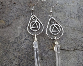 Crystal Quartz Point AA Unity Dangle Earrings