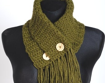 Cowl Large crochet cowl with buttons moss green scarf fringes chunky neck warmer handmade winter autumn accessories scarf women men