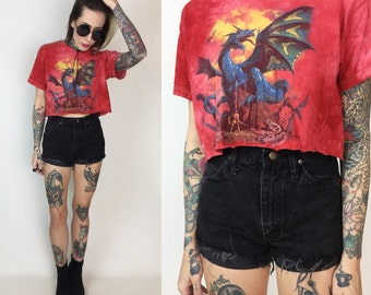 90's Dragon Cropped Tee Medium - Tie Dye Dragon Flames Grunge Crop Top Tee Shirt - The Mountain Red Tie Dye Fantasy Dragon Cropped T-Shirt