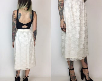 80's High Waist Lace Midi Skirt XS Size 2 - Ivory Cream Lace Floral Layover Midi Skirt - High Waist XS Vintage Lace Skirt W/ Scalloped Hem