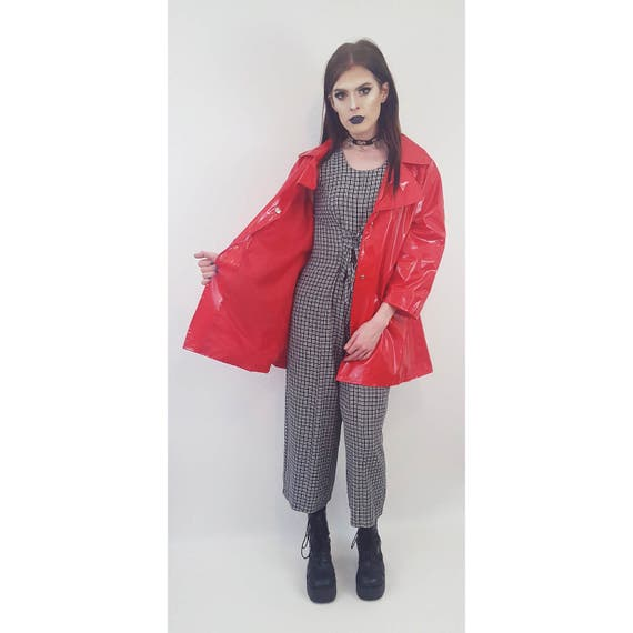 90's Women's Vintage Red Vinyl Rain Coat - Large Rain Slicker Shiny Patent Leather Button Up Front Rain Coat - Vtg Women's Rain Jacket