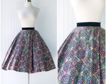 vtg 50s novelty paisley print full circle swing skirt / velvet flocked taffeta / pockets / Joe Davidson Original / black blue green red