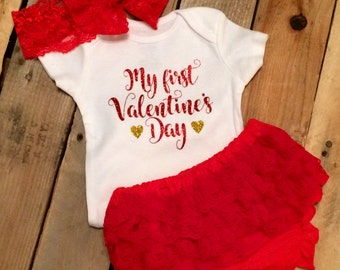 Baby's 1st Valentine's Day Bloomers Outfit - Baby Girl - First Valentine's Day - Valentine's Day Outfit - My First Valentine's Day