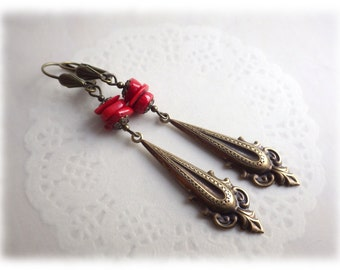 Vintage Dangle - Earrings Earrings brass in vintage style with coral bamboo coral