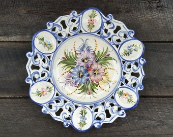 Decorative Wall Plate - Hand Painted Floral Motif - Portuguese Display Plate - Serving Tray - Made in Portugal - Vintage