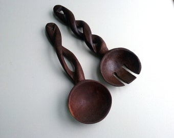 African Hand-Carved Spoon and Fork, Wood Salad Servers with Twisted Bone, Vintage Folk Art