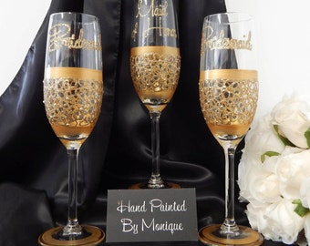 Maid of Honor or Honour and Bridesmaid Champagne Flutes Bridal Party Gifts Wedding Glasses Personalised Gifts For Bridal Party Gold x 3 Lace