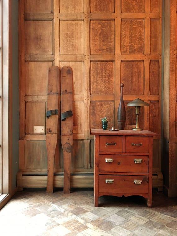 Antique Wood Skis, Primitive Handmade Wooden Skis, Rustic Cabin Decor, Lodge Decor