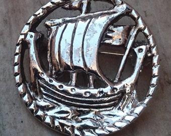 Vintage viking ship brooch