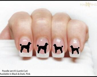 Nail Decal POODLE Set #3, Lamb Cut Poodle Nail Wraps and Dog Nail Art Designs by NAILTHINS