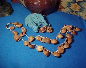 Antique Peach Pit or Nut Basket Necklace, Linen Bag, Hand Carved Folk Art, Americana
