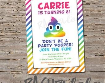 Emoji invitation birthday party invite printable template rainbow poop emoji invitation birthday party invite printable template digital print download stopboris Gallery