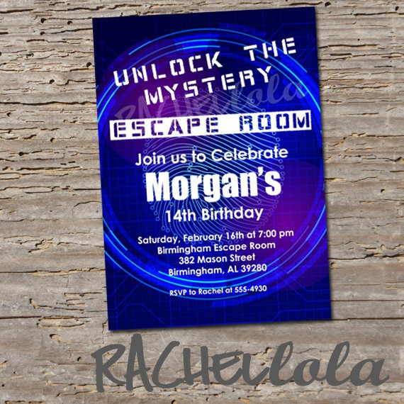 Escape room party birthday invitation digital print for Escape room party