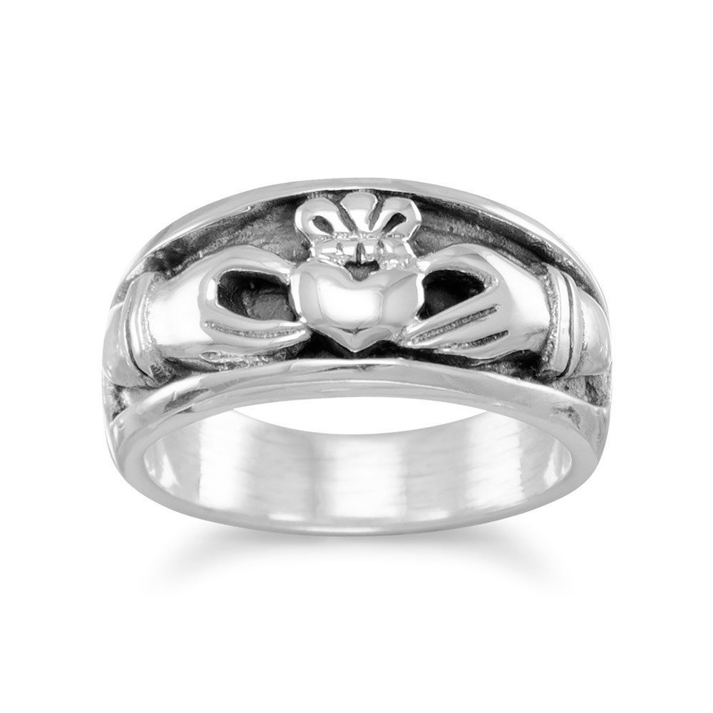 oxidized sterling silver inset claddagh ring by