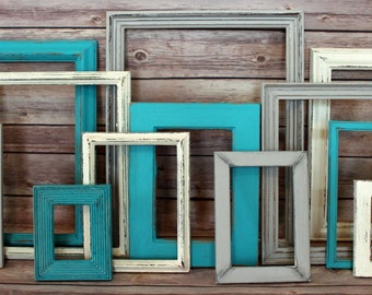 Farmhouse Wall Decor, Farmhouse Home Decor, Picture Frame Set, Shabby Chic Frame, Beach Wedding, Cottage Decor, Wedding Picture Frames
