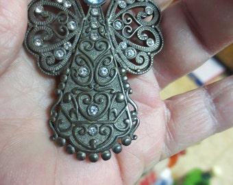 Rare Vintage Angel Brooch - Silvertone Filigree Wings w/Blue Rhinestone Head