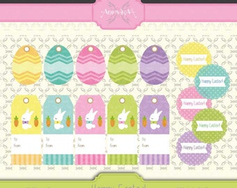 Happy Easter - Instant Download + Printable Labels Tags