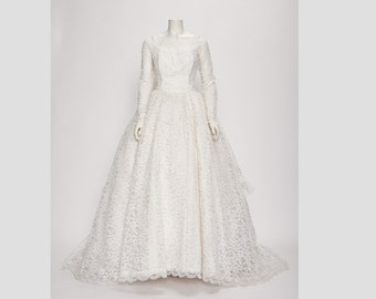 chantilly lace wedding dress with pleated ruffle detail vintage 1950s • Revival Vintage Boutique