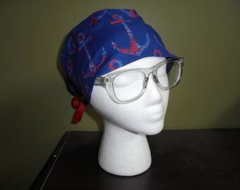 Red and Blue Anchor Nautical Surgical Scrub Hat