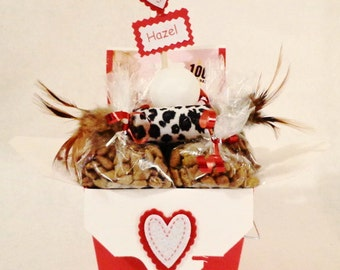 Valentines Day Cat or ferret gift basket- cat toys-cat treats-cat birthday- personalized cat gift-ferret treats-ferret toys