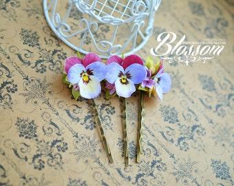 Handmade hair pin, Polymer clay pansy, Fimo pansies, Handmade clay flowers, Blue Pansy, Polymer clay hair pin