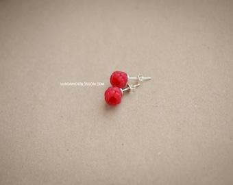Raspberries stud earrings, Handmade berry stud, Sterling silver studs, Red berries earrings