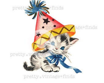 """Vintage  """"Party Kitty Birthday Cat with a Hat"""" Digital Image - (VC9) Print for Crafting, Fabric Transfers - INSTANT Download"""