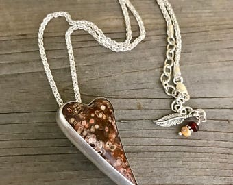 Ocean Jasper Necklace, Heart Pendant Necklace, Sterling Silver Necklace with Pendant, Gemstone Necklace, Statement Necklace