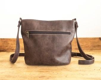 Cowhide LEATHER bag // Handmade leather bag // Brown leather bag // Cross-body leather bag // Women leather cross-body bag FLOR POCKET