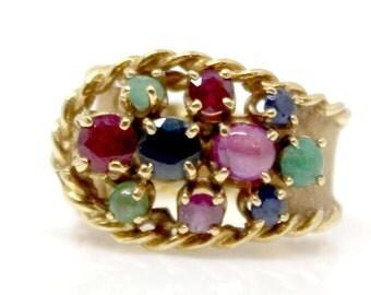 Sale! Multistone Gemstone Vintage RIng Yellow Gold