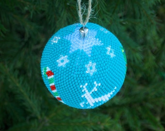 Christmas/gift/idea reindeer ornament christmas tree our first christmas ornament handmade decoration stocking stuffer Turquoise ornaments