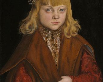 "Lucas Cranach the Elder : ""A Prince of Saxony"" (c. 1517) - Giclee Fine Art Print"