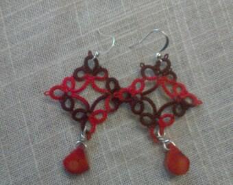 Red shaded earrings