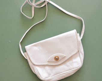 Boho 80s White Leather Purse, Crossbody White Little Bag with Golden Accent