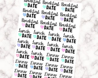 Date Day Stickers - Breakfast, Lunch and Dinner Date - Perfect for night out with your boyfriend/girlfriend/partner etc!