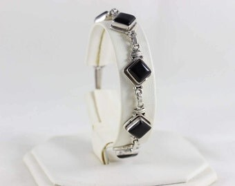 Sterling Silver Adjustable Onyx Bracelet