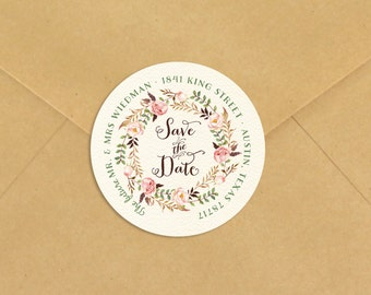 "Save the Date Return Address Label - Rustic Boho Custom Stickers - Envelope Seals - 3"" or 2"""
