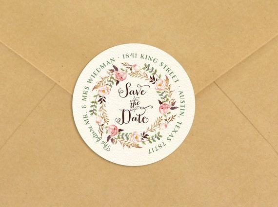 save the date return address label rustic boho custom stickers