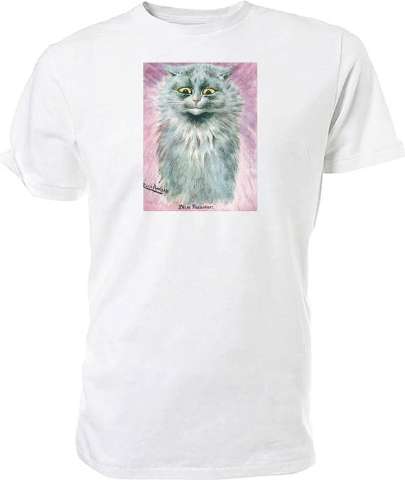 Louis Wain Blue Russian Cat T shirt. classic round neck short sleeved choice of sizes and colours,