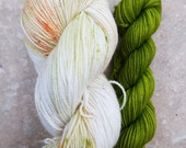 Toffee Apple + Golden Delicious Trim | Sock Yarn + Trim (100g + 20g) | Dyed to Order